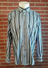 Etro Milano Long Sleeve Button Front Shirt Mens Size 44 XL Made in Italy Stripe
