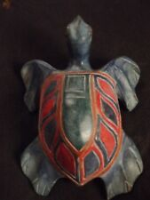 HAND CARVED WOOD SEA TURTLE 8 INCHES LONG WOODEN FIGURE