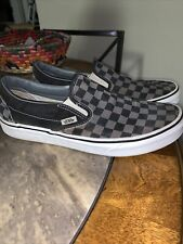 VANS CLASSIC SLIP-ON BLACK /GRAY CHECKERBOARD PRE-OWNED SIZE 9.5