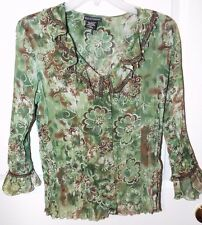 Bay Studio Career Petite Ladies Army Green Brown Cream Ruffled Beaded Top Sz PS
