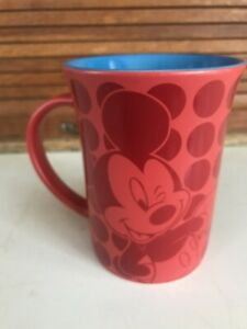 Disney Parks Authentic Mickey Mouse Polka Dot  Ceramic Coffee Cup Mug NWOT