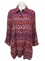 Coldwater Creek Women's Size 1X Button Up Linen Print Tunic Shirt 3/4 Sleeve Top