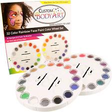 Custom Body Art 32 Color Primary Rainbow Face Paint Color Wheel Set