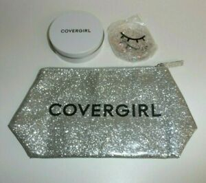 NEW COVERGIRL Cooling Eye Gel Pads + Silver Glitter Sparkle Cosmetic Make-up Bag