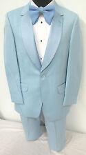 True Vintage Light Blue Tuxedo Jacket & Pants Retro Prom Halloween Costume 44S