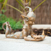 Reading Pixie Resin Garden Ornament Outdoor Indoor Statue Garden Fairy Sculpture