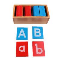 Alphabets En Bois De Papier De Verre De Montessori Lettre A-Z A-z Jouet