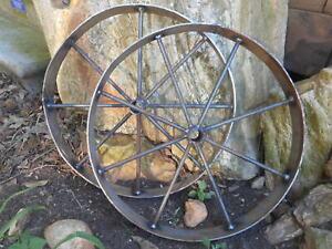 "2) 18"" steel ornamental Iron Wagon Wheel western rustic art metal Barbecue pit"