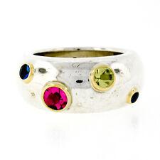 Tiffany & Co. Etoile Silver & 18k Gold Bezel Sapphire Peridot Tourmaline Ring