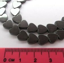 "1 x 16"" strand 8mm hematite heart beads non magnetic (50-54 beads/ strand) GS4"