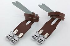 New Bike Double Leather Straps For Bike Bicycle Cycle Pedal Toe Clips - Brown
