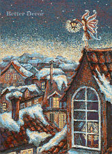 WALL JACQ. WOVEN TAPESTRY Fairy over Winter Town EUROPEAN BLUE FAIRY TAIL DECOR