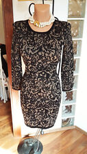 Karen Millen Black Gold Jacquard Bodycon Knit Dress KM 2 UK 10