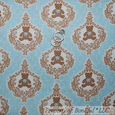 BonEful Fabric FQ Cotton Quilt Blue Brown BEAR Baby Boy Nursery Flower Damask Sm