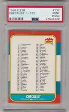 1986-1987 FLEER CHECKLIST BASKETBALL CARD #132 GRADED PSA 9 OC MINT