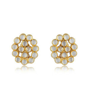 Yellow Gold Plated 925 Silver CZ Gemstone Stud Earrings Designer Jewelry