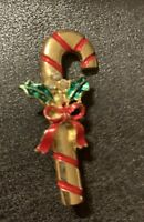 Vintage Gold Tone Enamel Christmas Candy Cane w/Bow Brooch Pin
