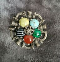 Vintage MIRACLE Scottish themed agate brooch pin Malachite turquoise Thistle