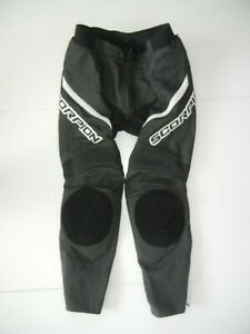 SCORPION EXO Black/White Leather Armor MOTORCYCLE PANTS Padded Biker Gear Men M