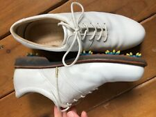Ecco Classic White Golf Lace-Up Spikes Shoes Size 40 Us 9 - Womens