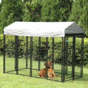 Pet Cage Dog Kennel Steel Wire Pen Run House Covered Shade Shelter Yard Outdoor