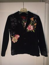 * Johnny Was Embroidered Floral Skulls Blue Corduroy Blazer Jacket S.   A391