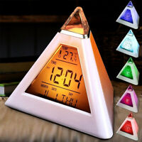Digital Alarm Clock Color LED Small Triangle Digital Changing Night Light Table