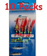 10 packs size #6 sabiki bait rigs 6 hooks red feather saltwater lures-486