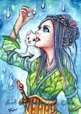 "ACEO LE Art Card Print 2.5x3.5/"" /"" Dragon Lady /"" Fantasy Art by Patricia"