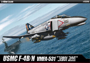 Academy 1/48 USMC F-4B/N VMFA-531 Grey Ghosts Hobby Plastic Model Kit Toy