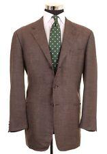 Vestimenta Made in ITALY Brown Woven Wool Silk Linen Sport Coat Jacket 44 L