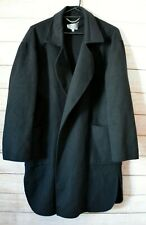 Sportscraft Signature Wool Blend Trench Coat Size 16 Black Long Sleeve Pockets