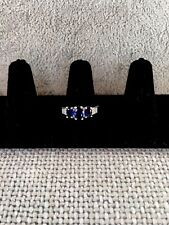 18K White Gold Plated Saphire Royal Blue Crystal Engagement Ring