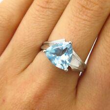 Vtg Signed 925 Sterling Silver Real Blue Topaz Gem Ring Size 7 3/4