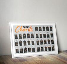 Guitar Chord Poster, Guitar Chord Guide Print, Guitar Chord Artwork