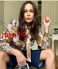 ZARA NEW WOMAN FLORAL PRINTED BLOUSE WITH BOW CROP SHIRT TOP XS-L 8364/339
