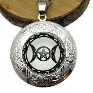 Silver Tone Wicca Triple Moon Cabochon Style Locket Pendant Necklace