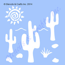 "3.25"" CACTUS MINI STENCIL WESTERN SUN SOUTHWESTERN TEMPLATE PAINT CRAFT ART NEW"