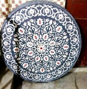 Design Traditional Mother of Pearl Stone Marble Table Top Decor Inlaid Art H4344