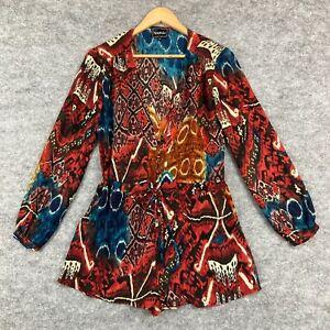 Nookie Womens Playsuit Size 6 Multicoloured Long Sleeve Geometric 113.05