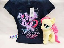 MY LITTLE PONY KIDS SIZE 4 T-SHIRT, FLUTTERSHY PLUSH TOY, & 2 VINYL FIGURINES