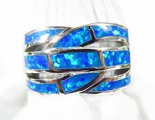 "Sterling 925 Silver SF Size 10 Ring Brilliant Blue Lab Opal Intertwined 1/2"" W"