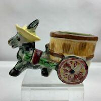 Vintage Donkey Horse Pulling Cart Planter Browns Barrel Cart - Unknown Maker