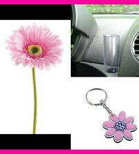 Volkswagen VW New Beetle  PINK  Silk Daisy Flower PINK Key Chain & Clear Vase