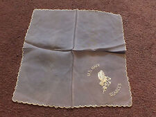 Collectible Ladies Handkerchief Sheer Embroidered Us Navy Seabees Vintage Wow
