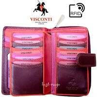 Womens Purse RFID Luxury Soft Leather Wallet Purple Visconti New in Gift Box R13