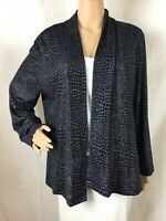 Chico's Open Front Knit Cardigan Chico's Size 2 (L) Blue Silver Print
