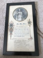 More details for vintage 1925 most holy father pope pius x1 apostolic blessing -papal seal framed