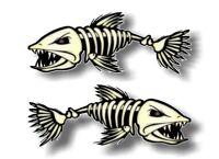 "2 - 3""x8"" SKELETON FISH Vinyl Decals for Fishing Tacklebox Lures Crankbait Reels"