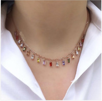 SOLID 925 STERLING SILVER HANDMADE JEWELRY MULTI-COLOR ZIRCON NECKLACE